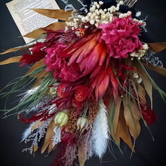 ドライフラワーのある生活/花が好き/赤/レッドカラー/赤い花/花のある暮らし/... ドライフラワースワッグ✿(1枚目)