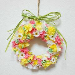 可愛い/ハンドメイド雑貨/インテリア雑貨/カラフル/花かんざし/フラワーリース/... ミニリース♡