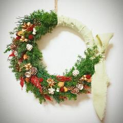 Xmas/インテリア雑貨/木の実リース/フラワーリース/リース/クリスマス/... クリスマスリース♪(1枚目)