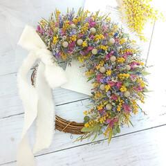 インテリア雑貨/ハンドメイド/ドライフラワーアレンジメント/ドライフラワー/花と緑がある暮らし/花を飾る/... ドライフラワーリース