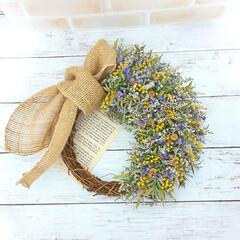ハンドメイド/インテリア雑貨/花が好き/花のある暮らし/フラワーギフト/ミモザ/... ドライフラワーリース