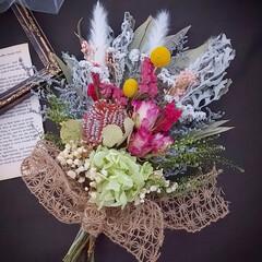花のある暮らし/ドライフラワーのある暮らし/スワッグ/ドライフラワースワッグ/ドライフラワーアレンジ/花/... ドライフラワースワッグ✿(1枚目)