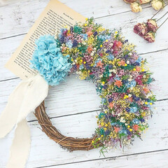 Flower/母の日ギフト/花のある暮らし/花雑貨/フラワーインテリア/フラワーギフト/... 今日のリース♪ 小花のカラフルリース*