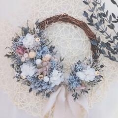 ハンドメイド作家/花を飾る/フラワーインテリア/花が好き/花と暮らす/花のある生活/... プリザーブドフラワーリース