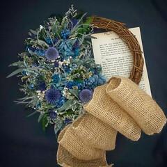 ブルーカラー/フラワーインテリア/フラワーギフト/花が好き/花のある暮らし/ドライフラワー/... プリザーブドフラワーリース