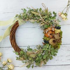 花が好き/花のある暮らし/花雑貨/インテリア雑貨/フラワーインテリア雑貨/インテリア/... グリーンと実物をメインで作ったドライフラ…