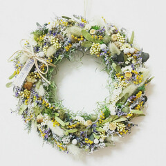 お花のある暮らし/ハンドメイド雑貨/インテリア雑貨/インテリア/グリーン/グリーンリース/... ドライフラワーリース♡