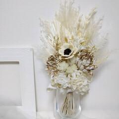 プリザーブドフラワー/白い花/ホワイトカラー/ホワイトスワッグ/ホワイトインテリア/フラワーアレンジメント/... ホワイトスワッグ✿(2枚目)
