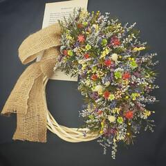 ハンドメイド/インテリア雑貨/フラワーアレンジ/フラワーギフト/花を飾る/花が好き/... 小花リース♪