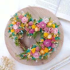 ハート型/花と緑がある暮らし/花のある暮らし/花が好き/花が好きな人と繋がりたい/リース/... ドライフラワーのハートリース♡(1枚目)