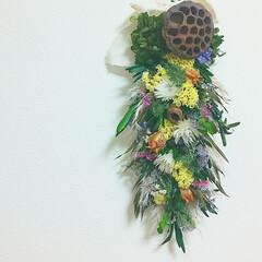ハンドメイド雑貨/インテリア雑貨/プリザーブドフラワー/ドライフラワー/花と緑がある暮らし/花がある暮らし/... スワッグガーランド
