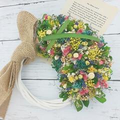 Flower/フラワー雑貨/インテリア雑貨/ハンドメイド/花と緑がある暮らし/花のある暮らし/... プリザーブドフラワーの小花リース