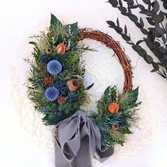 ハンドメイド雑貨/フラワーリース/花と緑がある暮らし/緑のある暮らし/花のある暮らし/プリザーブドフラワー/... オーバル型のグリーンリース♪(1枚目)