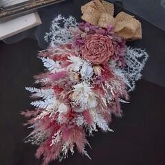 スワッグ/ガーランド/リース/プリザーブドフラワー/花が好きな人と繋がりたい/花のある暮らし/... 壁掛けアレンジメント😊(1枚目)