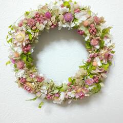 ハンドメイド雑貨/インテリア雑貨/可愛い/リース/お花/ピンク/... リース作り♡2個目♡