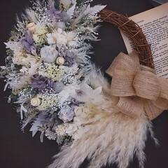 ドライフラワー/プリザーブドフラワー/フラワーインテリア雑貨/minneで販売します/花のプレゼント/花の贈り物/... プリザーブドフラワーリース♪(1枚目)
