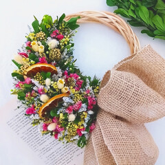 ハンドメイド作家/インテリア雑貨/花と緑のある暮らし/花が好き/フラワーギフト/フラワー/... 今日のリース  プリザーブドフラワーの小…