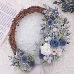 minneで販売してます/フラワーギフト/フラワーインテリア/Flower/淡い色合い/花のある暮らし/... 今日のリース♪