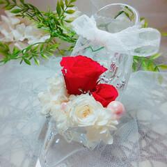 可愛い/綺麗/赤/薔薇/インテリア雑貨/ハンドメイド雑貨/... ガラスの靴アレンジメント♡