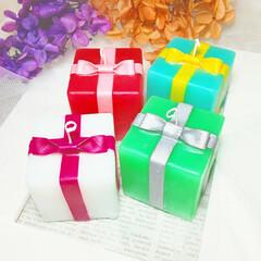 ハンドメイド雑貨/インテリア雑貨/プチギフト/かわいい/プレゼントボックス/Candle/... リボンキャンドル♪