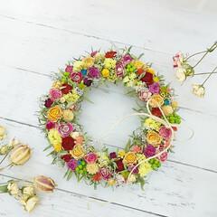 花が好き/花のある暮らし/ハンドメイド雑貨/インテリア雑貨/ドライフラワーアレンジリース/ドライフラワーのある暮らし/... ドライフラワーリース♡