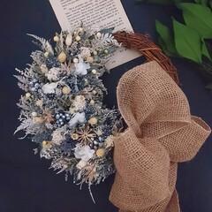 プリザーブドフラワー/ドライフラワー/インテリア雑貨/ハンドメイド雑貨/花のある暮らし/グレーカラー/... プリザーブドフラワーの小花リース✿