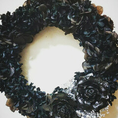 黒バラ/BLACK/プリザーブドフラワー/ハンドメイド雑貨/インテリア雑貨/花のある暮らし/... 黒リース♪