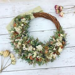 ドライフラワー/花が好き/花を飾る/ドライフラワーのある暮らし/ハンドメイドリース/リース作り/... ドライフラワーリース♪