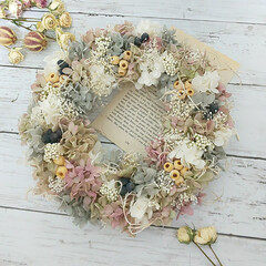Flower/プリザーブドフラワー/ハンドメイド雑貨/インテリア雑貨/花のある暮らし/花が好き/... プリザーブドフラワーリース♡