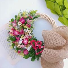 花と緑がある暮らし/花がある暮らし/花のある暮らし/インテリア雑貨/ハンドメイド作家/リース作り/... プリザーブドフラワーリース