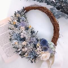 フラワーインテリア/花のある部屋/花が好き/花のある暮らし/フラワーギフト/プリザーブドフラワーとドライフラワー/... 今日のリース♪プリザーブドフラワーリース(1枚目)