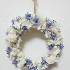 プレゼント/可愛い/玄関に春を/ハンドメイド雑貨/インテリア雑貨/好きな事/... 今日のリースはシンプルに♡