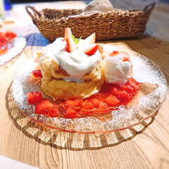 誕生日会/母親の誕生日/いちごパンケーキ/いちご/パンケーキ/至福のひととき/... 母親の誕生日に、母親の希望でパンケーキを…