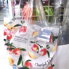 ICONIC Clear beach bag クリアビーチバック 4種類 クリアバッグ レディース トートバッグ ハンドバッグ 大容量 ビニールバッグ 夏 プール 海 透明バッグ(筆箱)を使ったクチコミ「ダイソー新商品。フルーツ柄のクリアバック…」(1枚目)