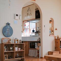 タイル/大好きキッチン/キッチン雑貨/キッチン/インテリア/雑貨/... リビングから眺めるキッチンが好き♡