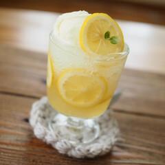 クラッシュ氷/夏のお気に入り/夏/バニラアイス/ソーダ/はちみつレモン/... はちみつレモンdËクリームソーダ🍨
