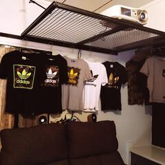 プロジェクター/和室改造/カインズホーム/リノベーション プロジェクター設置✨ 服も掛けられるよう…