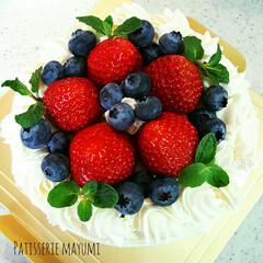 誕生日/1歳/ケーキ/デコレーションケーキ/お菓子作り/手作りケーキ 末っ子1歳の誕生日ケーキ。 ふわふわシフ…