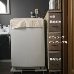古材風/カフェ風インテリア/ナチュラルインテリア/インテリア/引き出し付き/脱衣所/... 洗濯機横の収納棚を少しリメイクしました …