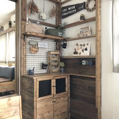 カフェ風インテリア/水の激落ちくん/修正ペン/ブラックボード/整理整頓/ラブリコ棚/... リビングのラブリコ棚を整理整頓しました …