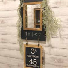 男前インテリア/百均DIY/鏡/トイレ/セリア/100均/... トイレに鏡を付けてみました✨ 以前リメイ…