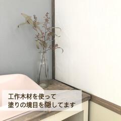 スマホ置き/セリア/クッションフロア/漆喰/コンクリート風/古材風/... トイレから失礼します🙇♀️  befo…(5枚目)