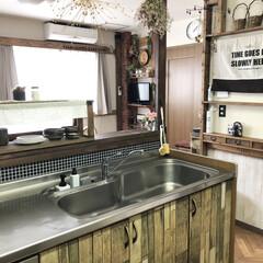 キッチンカウンター/フライパン洗い/水筒用スポンジ/インテリア/キッチンアイテム/キッチンインテリア/... こんばんは😊 私がキッチンで使っているお…