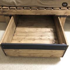 キャスター付き/収納BOX/ベッド下収納/ベッド下/DIY/収納/... ベッド下の収納BOX✨ 片方はスノコベッ…