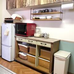食器棚リメイク/見せる収納/カゴ収納/カゴ/食器棚/キッチン/... こんにちは☀️ 久しぶりの投稿、そしてD…(6枚目)