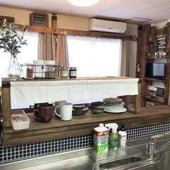 セルフリノベーション/キッチン/インテリア/カフェ風インテリア/ドライフラワーのある暮らし/ドライフラワー/... こちらは、カウンターキッチンの上に設置し…(4枚目)