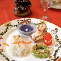 9ヶ月/離乳食/クリスマス/おうちごはん/グルメ/フード/... 息子の離乳食プレートです。完食してくれま…