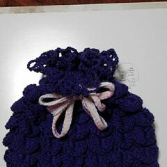 プレゼント/紫色/春のフォト投稿キャンペーン/フォロー大歓迎/ハンドメイド/セリア 義姉が遊びに来るので 巾着を編んでみまし…