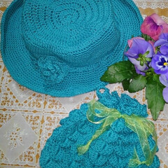 帽子/ハンドメイド/春のフォト投稿キャンペーン/フォロー大歓迎/セリア 帽子と巾着 編んでみました