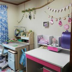 狭い子供部屋/子供部屋インテリア/DIY/家具/住まい 机組み立て完了❗ 次女が今年から1年生🎒…